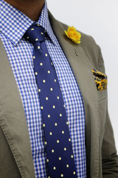 Mens Fashion - Khaki blazer, checked shirt, polka dot tie, yellow lapel flower