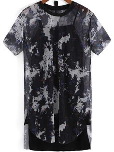 Black Round Neck Floral Sheer Mesh Two Pieces Dress   -SheIn