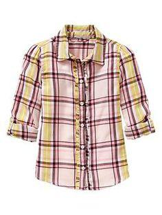 Convertible ruffle plaid shirt