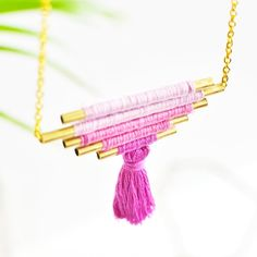Learn how to make your own tassel ombre necklace with brass tubes and embroidery thread
