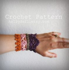 "PDF Crochet pattern- ""plethora"" antique lace cuff bracelet"