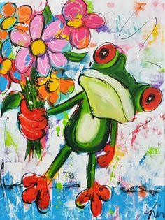Dit is een: Acrylverf schilderij op doek, titel: 'Mag ik u dit ruikertje aanbieden' kunstwerk vervaardigd door: Liz