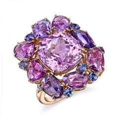 Omi Prive: Kunzite and Fancy Sapphire Ring. Designed in collaboration with renowned artist and designer, Rémy Rotenier.