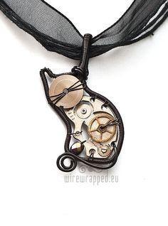 steampunk kitty necklace