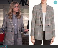 afbec1327dd Mallory's gray checked blazer on Grace and Frankie. Outfit Details: https://