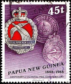PAPUA NEW GUINEA.  Royal Papua New Guinea Police Force. HISTORIC ASPECT OF THE FORCE.  BADGES. Scott 693 A158, Issued 1988 June 15, Litho., Uwmk., Perf. 14 x 15, 45t. /ldb.