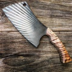 Custom Field Cleaver .. Acid-etched 1095 steel with blonde big curl koa and carbon fiber pins