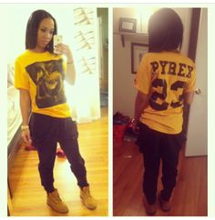 A fashion look from December 2013 featuring yellow top, baggy pants and timberland boots. Browse and shop related looks. Dope Fashion, Fashion Killa, Urban Fashion, Teen Fashion, Tomboy Fashion, Timberland Outfits, Timberland Style, Chill Outfits, Swag Outfits
