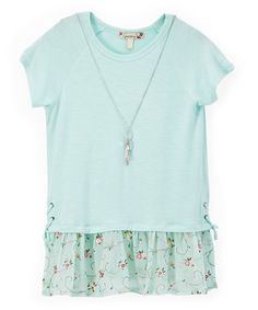 Look what I found on #zulily! Pistachio Floral Embroidered Tee & Pendant Necklace - Girls #zulilyfinds
