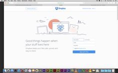 Dropbox Sometimes less is more. Dropbox makes a clean entrance on their homepage with a white background and blue illustration.
