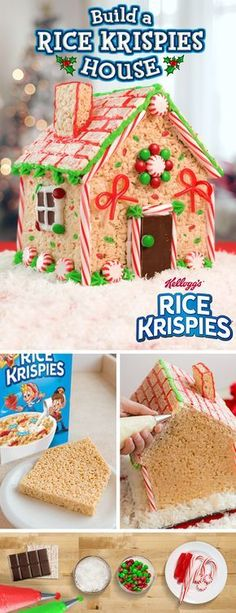 Create the sweetest house on the block this with Rice Krispies! … Create the sweetest house on the block this with Rice Krispies! This fun, easy-to-make recipe requires little prep time, which means you and your kids will have more time for fun! Christmas Snacks, Christmas Gingerbread, Christmas Cooking, Christmas Goodies, Holiday Treats, Christmas Holidays, Holiday Fun, Gingerbread Houses, Rice Krispie Gingerbread House