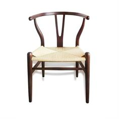 Commercial Grade Replica Hans Wegner Wishbone Chair with Cord Seat - Walnut