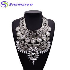 Four Color for your chose Fashion Jewelry Crystal 18k gold Statement Necklace