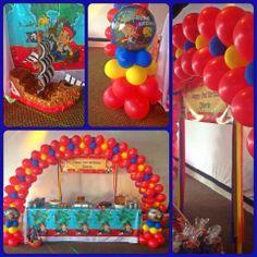 Jake & the Neverland Pirates 2nd Birthday decor ~ arch and columns by Glenda