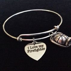 I Love My Firefighter on Expandable Adjustable Wire Bangle Bracelet Occupational Fire Hat Fire Department Wife Gift