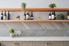 The Block kitchen reveals: 'One of the most beautiful kitchens I've ever seen' Chevron Tile, Herringbone Tile, Concrete Basin, Concrete Tiles, The Block Kitchen, House Tiles, Bathroom Basin, Decorative Tile, Home Kitchens