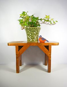 Small Handmade Wooden Bench...plant Stand...stool....vintage