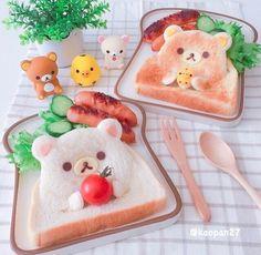 Super cute Rilakkuma and Korilakkuma bread Japanese Food Art, Japanese Sweets, Cute Bento Boxes, Plat Simple, Unicorn Foods, Kawaii Dessert, Tiny Food, Cute Desserts, Food Goals