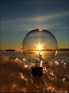 Sunset through lightbulb