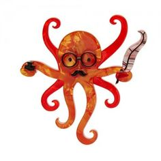 """Octavious+the+Octo+Scribe""""many+Hands+Make+light+work"""",John+Heywood+the+scribes+workout+to+report,a+new+octopus+reporter+brooch+on+duty+at+Erstwilder+Jewellery.+  With+Quill+at+the+ready,Optima..."""