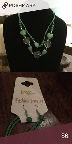 Kay Fashion necklace & earrings set. Aqua green Kay Fashion necklace & earrings set. Eye catching made in China Jewelry Necklaces