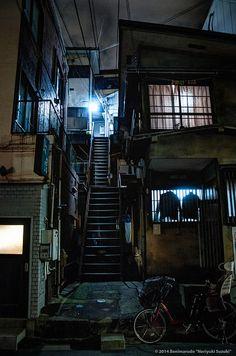 曙橋 Akebono-Bashi by Noriyuki Suzuki on Kasimir Und Karoline, Cyberpunk City, Walled City, City Aesthetic, Slums, Fantasy, Nocturne, Urban Landscape, Abandoned Places