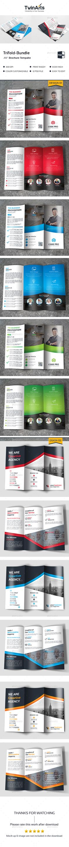 Corporate Trifold Brochure Design Template Bundle - Brochures Print Design Template PSD. Download here: https://graphicriver.net/item/trifold-bundle/19429269?ref=yinkira