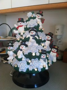 Snowman Christmas Tree. Great twist on the classic ceramic Christmas Tree. Hand painted