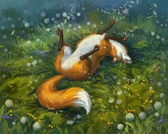 Fox And Dandelions by LouieLorry on deviantART