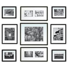 Target - For those of us who struggle to make a decent gallery wall Gallery Perfect 9 Piece Multi-Size Wall Frame Set - Black Black Picture Frames, Collage Picture Frames, Picture Frame Sets, Black Frames, Wall Collage, Photo Collages, Collage Ideas, Wall Frame Set, Frames On Wall