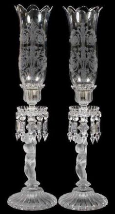 A PAIR OF BACCARAT HURRICANE LAMPS Baccarat Crystal, Large Lamps, Retro Lamp, Hurricane Lamps, Business Checks, Wood Lamps, Antique Auctions, Contemporary Lamps, Decorating Tools