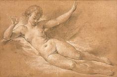 François BOUCHER (Paris 1703 – 1770) - Etude de nu, esquisse pour «Sylvie [...], Tableaux Anciens, Objets d'Art, Bel Ameublement à Eve Enchères SVV   Auction.fr