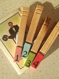 PAINTED NUMBERED CLOTHESPIN magnets wood pastels by SugarAndPaint