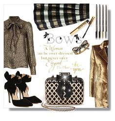 """""""Black and Gold Bows"""" by poopsie-plopsie ❤ liked on Polyvore featuring Oscar de la Renta, Chanel, Tevolio, WALL, Marc Jacobs, LORAC, Vetements, Yves Saint Laurent, Chicwish and MDMflow"""