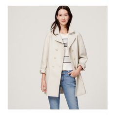LOFT Double Breasted Trench ($168) ❤ liked on Polyvore featuring outerwear, coats, morning fog, cotton trench coat, double-breasted coat, cotton coat, trench coat and long sleeve coat