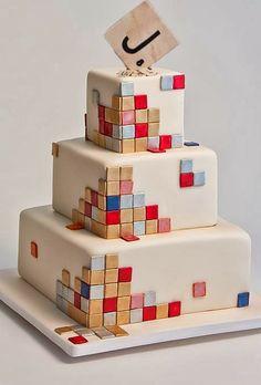 Abstract Scrabble Wedding Cake