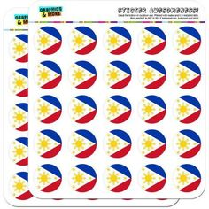 The Philippines National Country Flag 50 1 inch Planner Calendar Scrapbooking Crafting Stickers, White