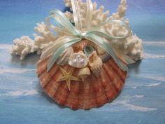Scallop Shell Ornament Beach Decor Christmas by TheSleepySeahorse Seashell Ornaments, Handmade Ornaments, Handmade Christmas, Christmas Ornaments, Wedding Ornament, Scallop Shells, Beach Crafts, Shell Crafts, Easy Diy Crafts