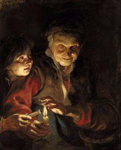 Pieter Paul Rubens 1616,   Vecchia e bambino con le candele.