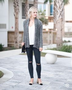 Cozy and casual fall outfit idea. This grey cardigan is perfect for layering with a white lace cami and distressed denim