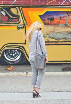 Grey Stripes | H&M Grey Stripe Top + Grey Levis Jeans | Monochrome Grey Outfits Ideas | Luci's Morsels :: LA Denim Fashion Blogger