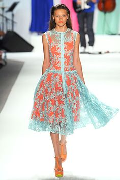 Nanette Lepore at New York Fashion Week Spring 2012 - Runway Photos Love Fashion, Spring Fashion, Fashion Design, Turquoise Dress, Nanette Lepore, Orange Dress, Beautiful Gowns, Ready To Wear, Dress Up