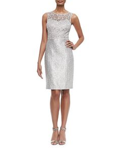 Kay Unger New York 124773 8M Silver Multi Lace Sequin SLVLS Sheath DH934 AUCTION #KayUngerNewYork #Sheath #Cocktail