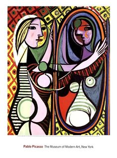 Girl Before a Mirror by Pablo Picasso art print I copied this onto a plain brown tile, in oil paints, it took me a month. I then made it into a side table. Love this
