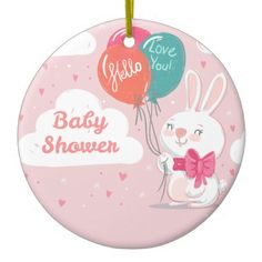 Candy pink bunny balloons child bathe invitation ceramic decoration. >>> Discover more by going to the picture