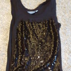 Simply Vera black sequin tank Perfect statement tank! Black sequin on the front only. Falls just over the hips Simply Vera Vera Wang Tops Tank Tops