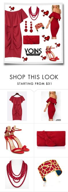"""""""The Hearts Desire ❤️"""" by neesyrn ❤ liked on Polyvore featuring Salvatore Ferragamo, L.K.Bennett, BaubleBar, Les Georgettes, Kenneth Jay Lane, yoins and loveyoins"""