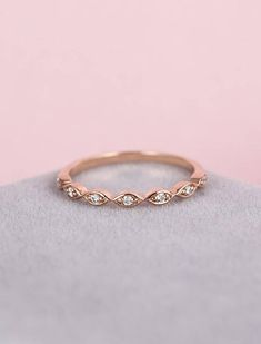 Rose Gold Wedding Band women Art Deco Diamond marquise vintage Half Eternity band Dainty Stacking Promise Anniversary Gift for her Matching Description: - Vintage style diamond ring - natural diamonds - comfortable band Natural diamond Weight - appox 0.07CT Shape - round Clarity -