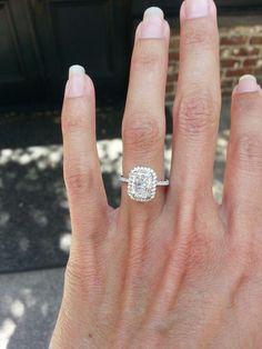 radiant cut, pave setting, platinum engagement ring