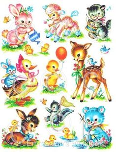Details about Vintage Image Shabby Nursery Baby Animal Assortment Waterslide Decals Quilt Baby, Vintage Pictures, Vintage Images, Ostern Wallpaper, Baby Animals, Cute Animals, Jellyroll Quilts, Vintage Nursery, Vintage Greeting Cards